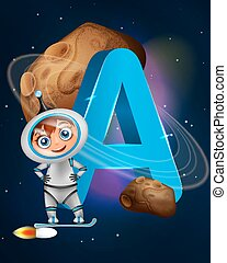Learning alphabet: A for astronaut and asteroid