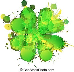 Lucky clover leaf made of colorful grunge splashes