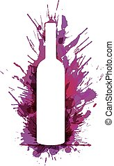 Wine bottle in front of colorful grunge splashes