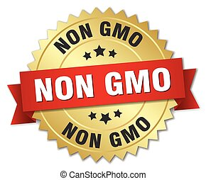 non gmo 3d gold badge with red ribbon