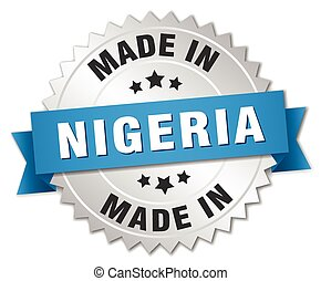 made in Nigeria silver badge with blue ribbon