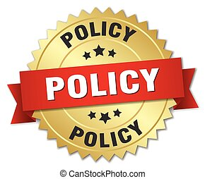 policy 3d gold badge with red ribbon