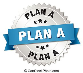 plan a 3d silver badge with blue ribbon