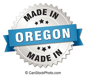 made in Oregon silver badge with blue ribbon