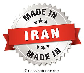 made in Iran silver badge with red ribbon