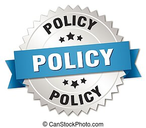 policy 3d silver badge with blue ribbon