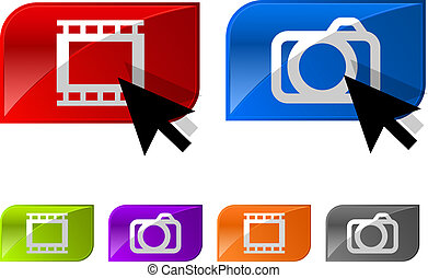Glossy photo video buttons With arrow icon Vector...