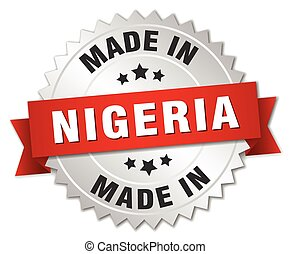 made in Nigeria silver badge with red ribbon