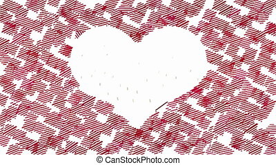 Animated square strokes forms heart - White heart on red...