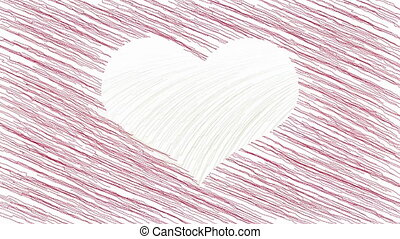 Drawing heart symbol animation - White heart symbol appears...