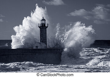 Infrared old lighthouse under heavy storm - Big stormy waves...