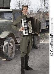 Soviet soldier outdoors - Soviet soldier in uniform of World...
