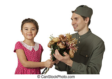 Portrait of a  little girl and Soviet soldier
