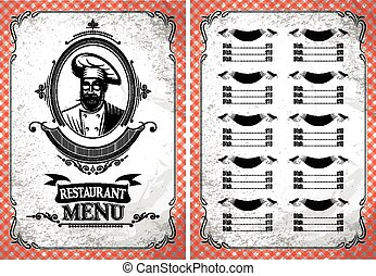 vintage vector template for a restaurant menu with chef in glasses