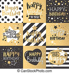 Set of beautiful birthday invitation cards decorated with...