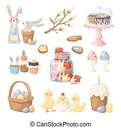 Easter holiday vector illustration Eggs basket, rabbit bunny...