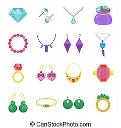 Set of jewelry vector flat icons Gold precious accessorize...