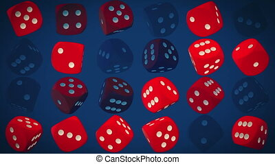 Rotating dice in red on blue