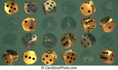 Rotating dice in golden color