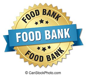 food bank 3d gold badge with blue ribbon