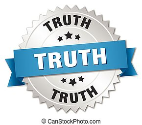 truth 3d silver badge with blue ribbon