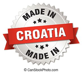 made in Croatia silver badge with red ribbon