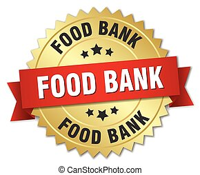 food bank 3d gold badge with red ribbon