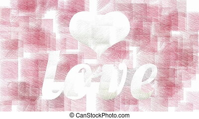 Heart and Love stylish animation - White Love inscription...