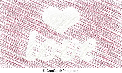 Drawing Heart and Love animation - White heart symbol and...