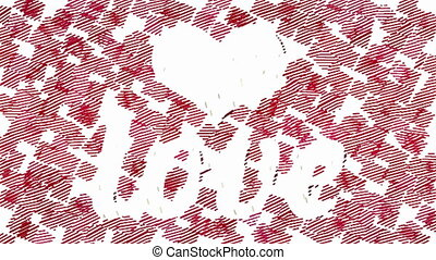 Heart and Love by animated strokes - White Love inscription...
