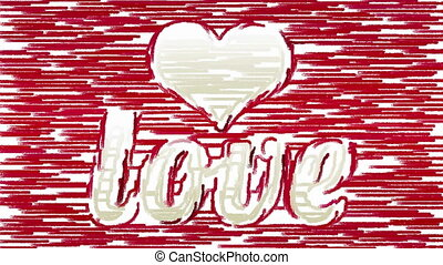 Brush strokes forms heart and Love - Horizontal paint brush...