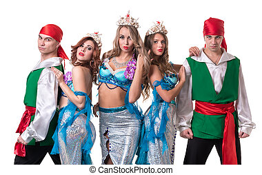 Carnival dancer team dressed as mermaids and pirates...