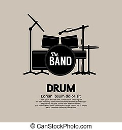 Drum Set Music Instrument - Drum Set Music Instrument Vector...