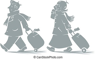 Funny air passengers - Vector contour illustration of funny...