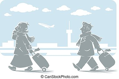 Funny air passengers with airport background - Vector...