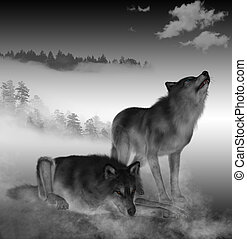 3D render of Timber Wolfs - 3D render of Timber Wolfs in...
