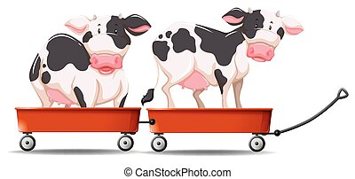 Two cows standing on the wagon