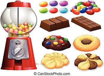 Candy machine and chocolate bars illustration