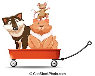 Dog and cat on red wagon