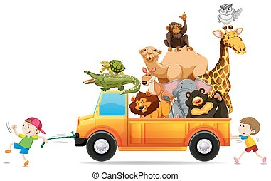 Children pulling a truck loaded with wild animals...