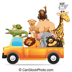 Wild animals on pick up truck illustration