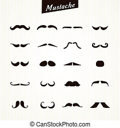 Set of mustaches isolated on white background. Vector...
