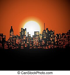 cityscape sunrise or sunset