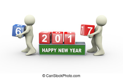 3d people and happy new year 2017 - 3d rendering of person...