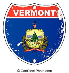 Vermont Flag Icons As Interstate Sign - Vermont flag icons...