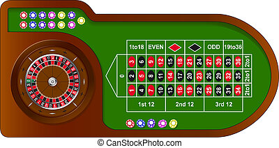 Roulette game table with colorful chips for online casino,...