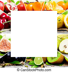 Fruit mix - Photo of colorful fruit mix with white square...