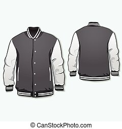 sportsjacketwomen - Sports or varsity jacket. Vector.