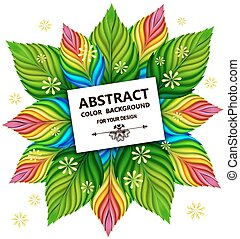 Leaf abstract background Vector spring card, EPS10 - Floral...