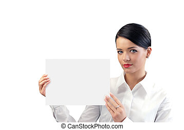 Attractive young businesswoman with copy space sheet